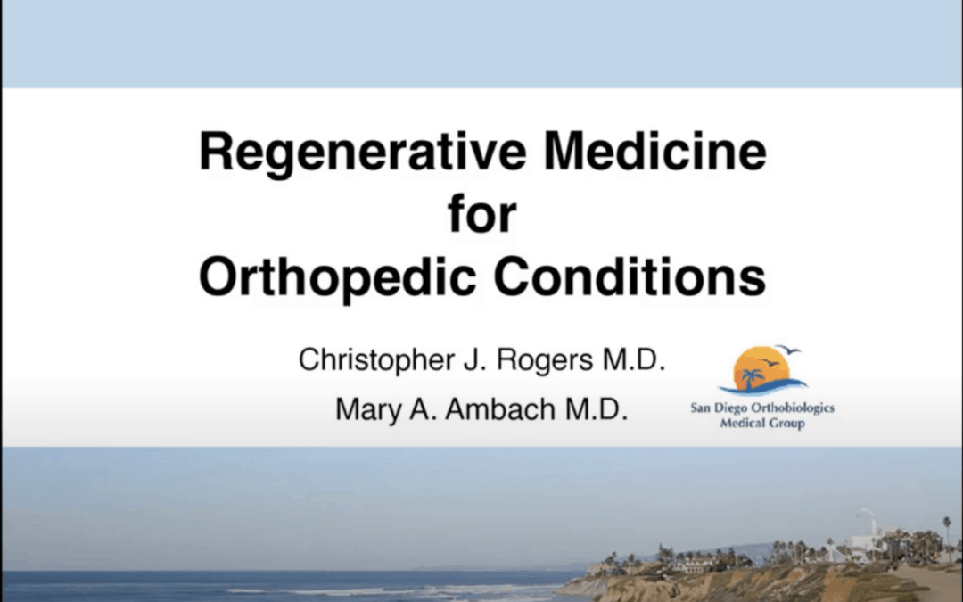 Watch Dr. Ambach's Presentation on Regenerative Medicine for Orthopedic Conditions