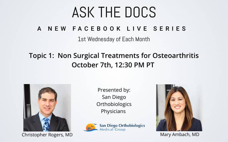 Ask the Docs on Facebook Live | Non Surgical Treatments for Osteoarthritis