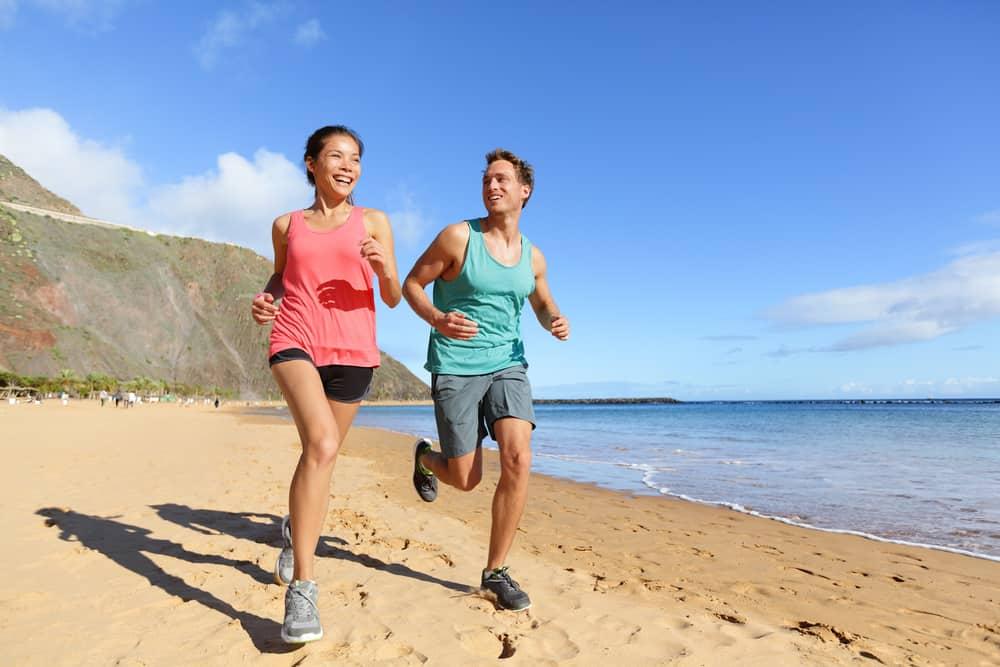 Regenerative Medicine and Couple Running on Beach