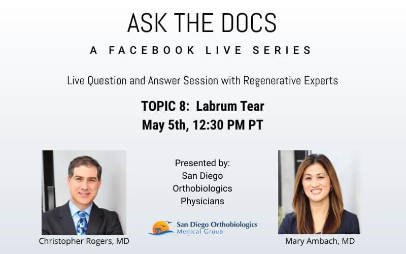 Ask the Docs: Labrum Tear | Facebook Live Event