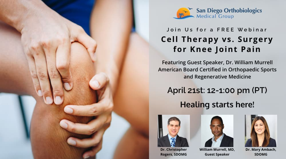 cell therapy vs. surgery for knee joint pain